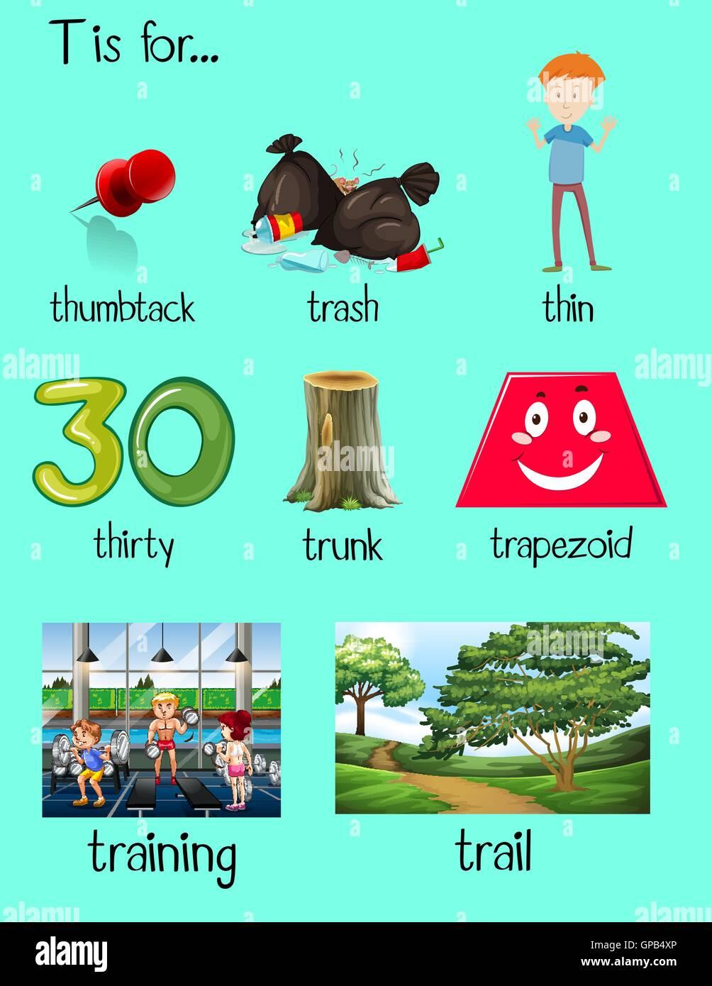 Muchas palabras comienzan con la letra T ilustración Imagen De Stock