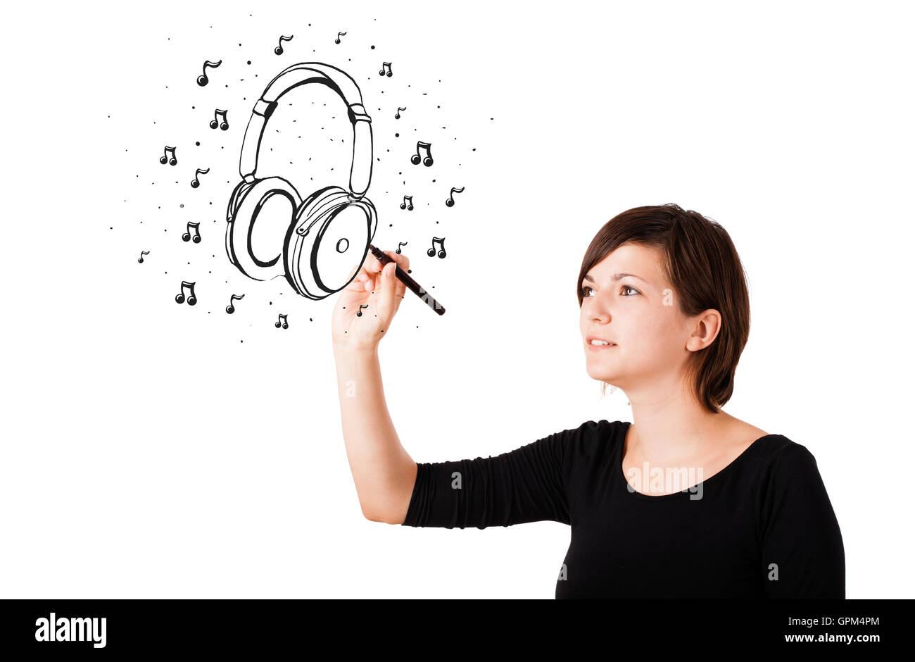 Joven Dibujo Y Notas Musicales De Auriculares Foto Imagen De Stock