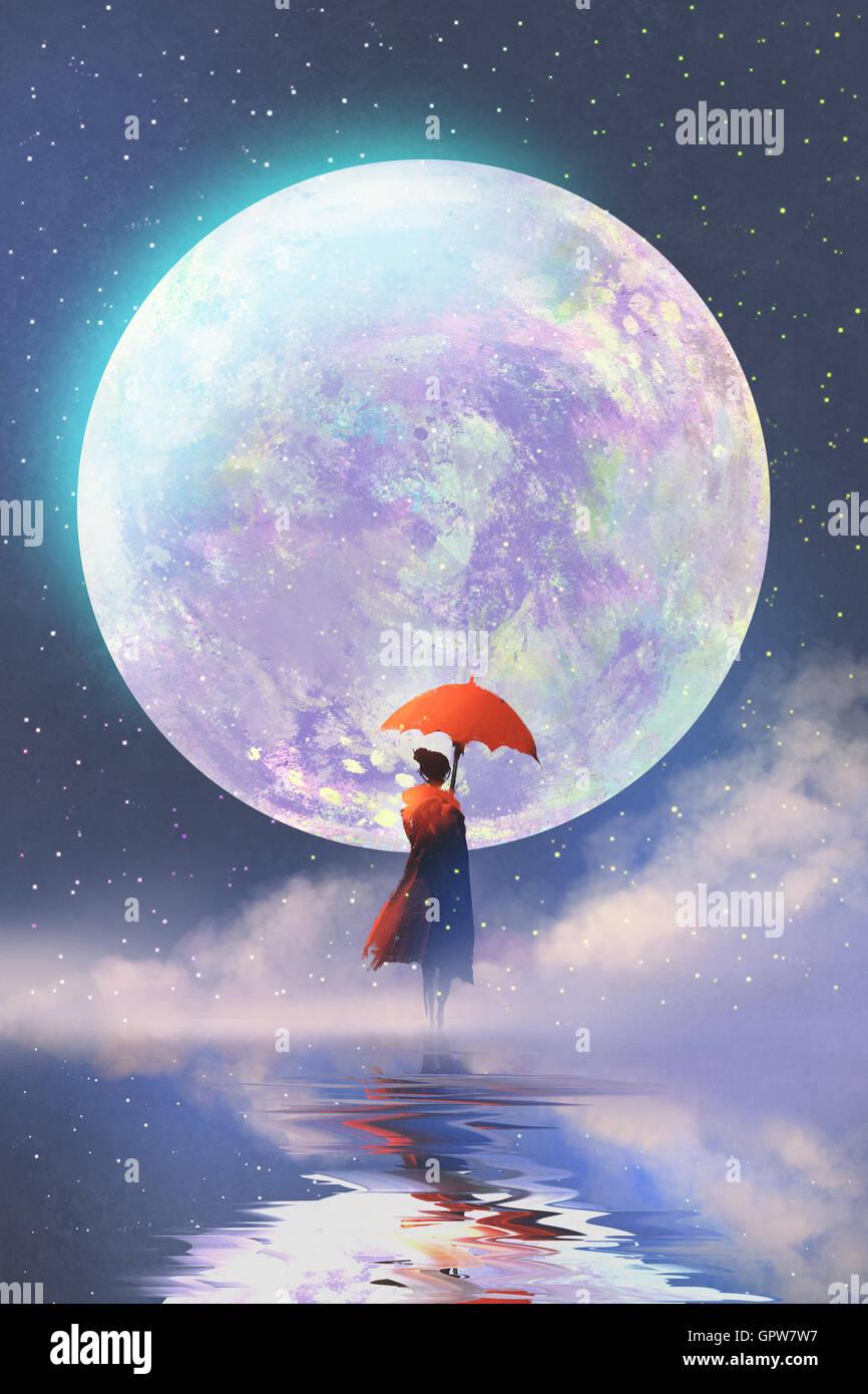 Mujer con sombrilla roja de pie sobre el agua contra la luna llena,ilustración pintura de fondo Imagen De Stock
