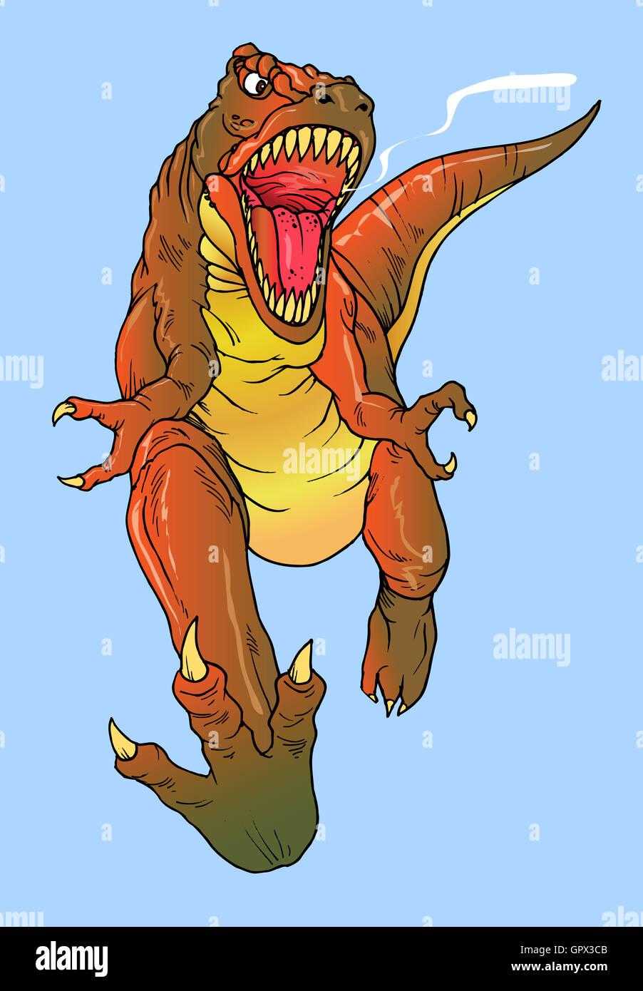 T-Rex feroz Tyrannosaurus dinasour o la caza con fines alimentarios Imagen De Stock