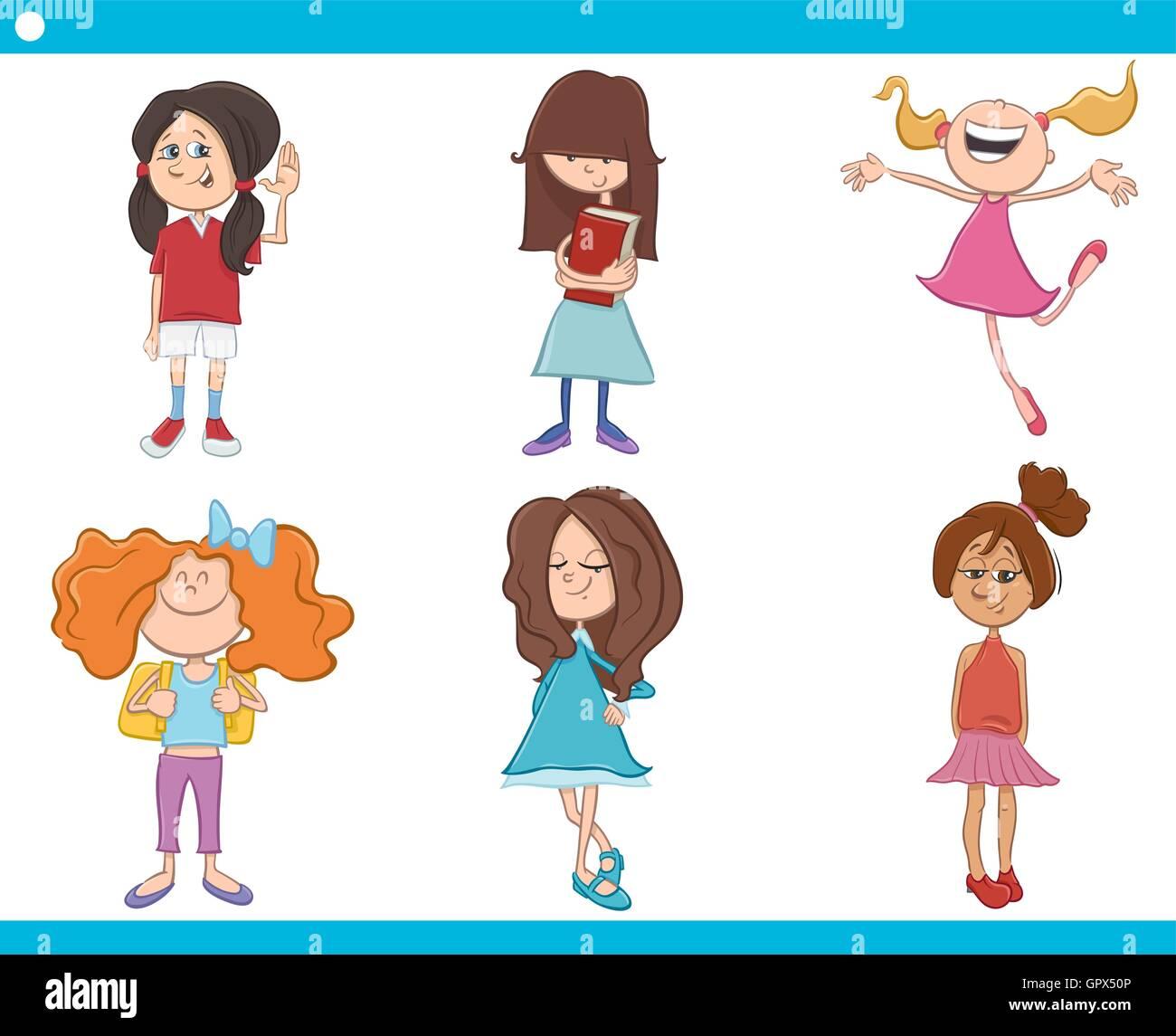Ilustración De Dibujos Animados De Niñas En Edad Escolar Los Niños O