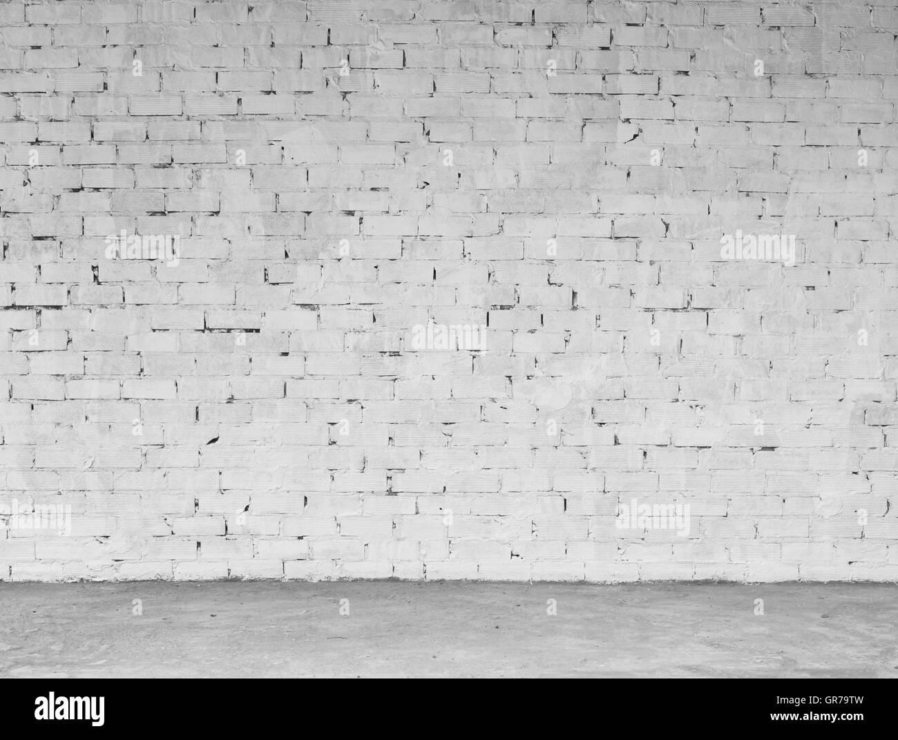 Muro de ladrillo blanco sucio Antecedentes y Escritura sobre Imagen De Stock