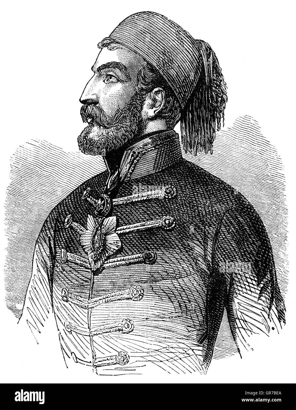 Omar Pasha latas (1806-1871) fue un general y gobernador otomano. Inicialmente fue un soldado austríaco, pero cuando se enfrentan a las acusaciones de malversación de fondos huyeron a Bosnia otomana y convertido al Islam, se unió al ejército otomano donde rápidamente escaló en filas. Fue comandante en la guerra de Crimea, donde ganó victorias pendientes en Silistra y Eupatoria y participó en el asedio de Sebastopol. Foto de stock