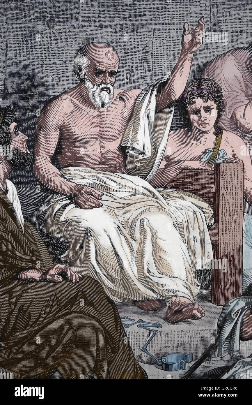 La muerte de Sócrates (490 BC-399 BC). Grabado del siglo XIX. Color. Imagen De Stock