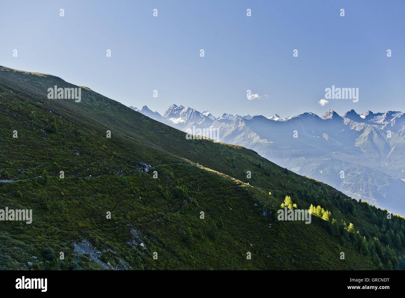Ötztaler Alpen, Blick auf Dr.Angerer Weg Foto de stock