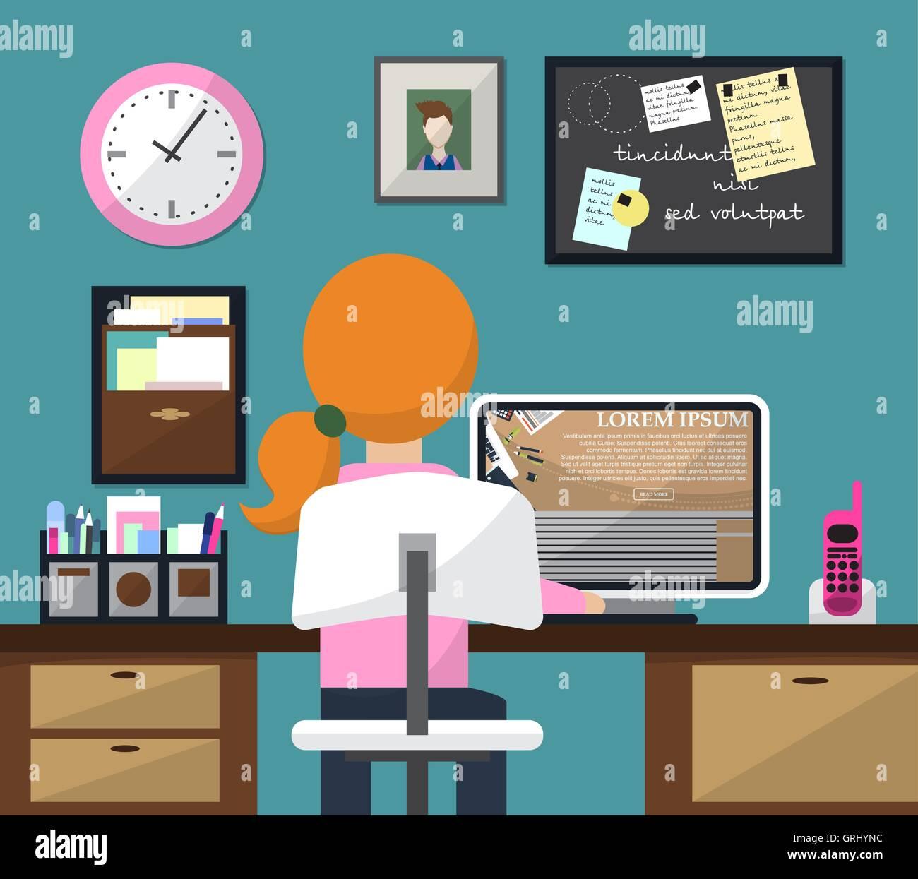 Diseño plano ilustración vectorial de habitación con espacio de trabajo. Chica en el trabajo. Vector Ilustración del Vector