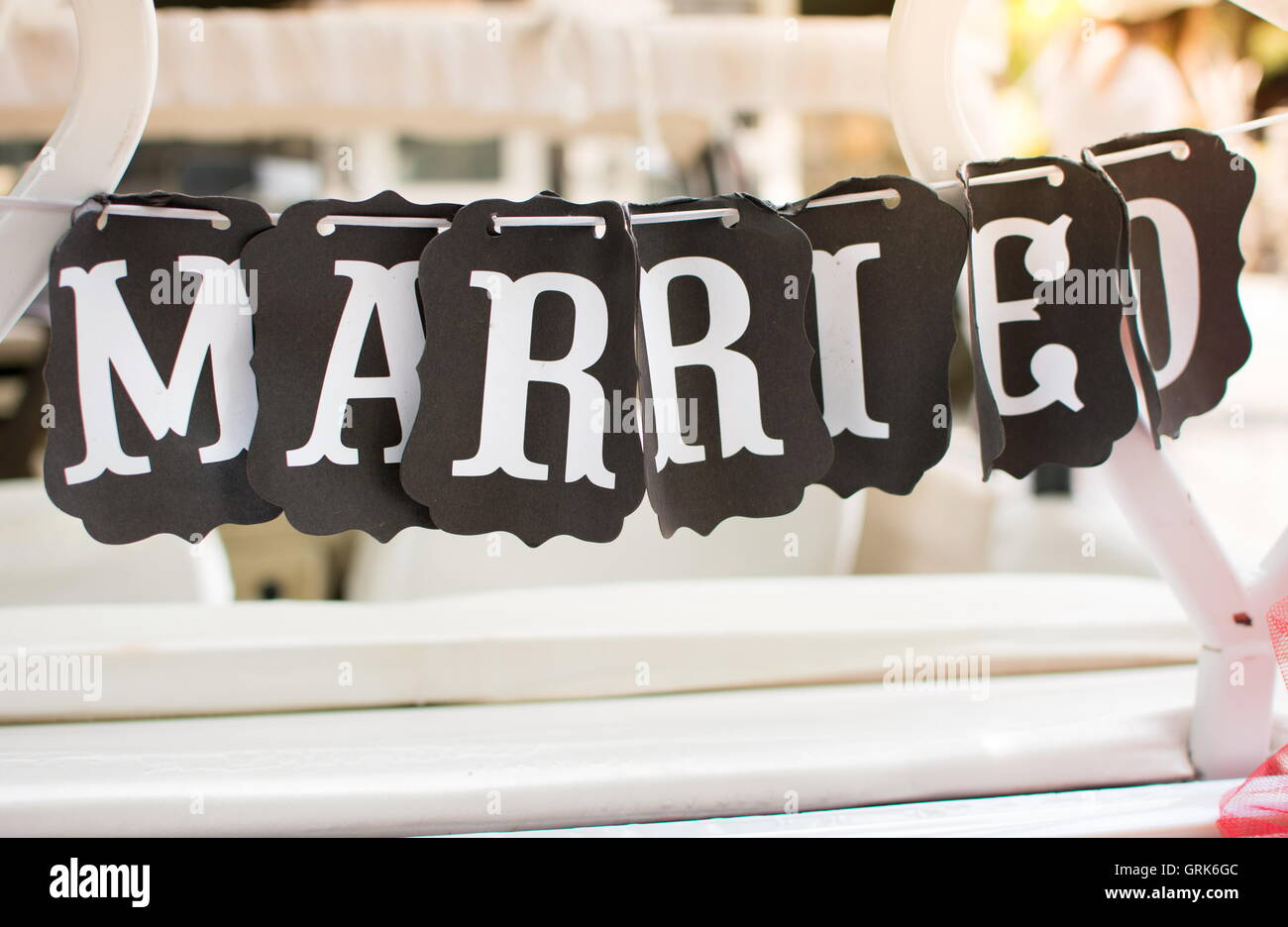 Just Married Car And Retro Imágenes De Stock Just Married Car And