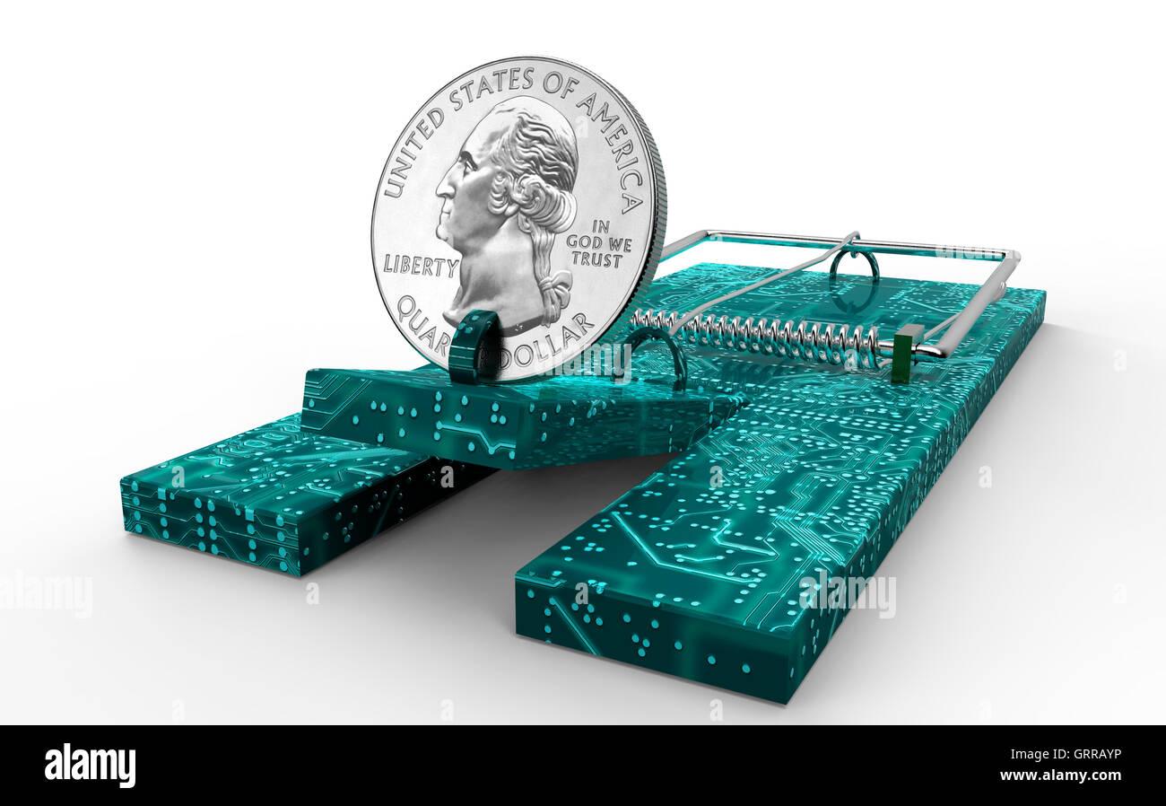 Trampa de ratón con monedas de dólar como cebo aislados, ilustración 3d Foto de stock