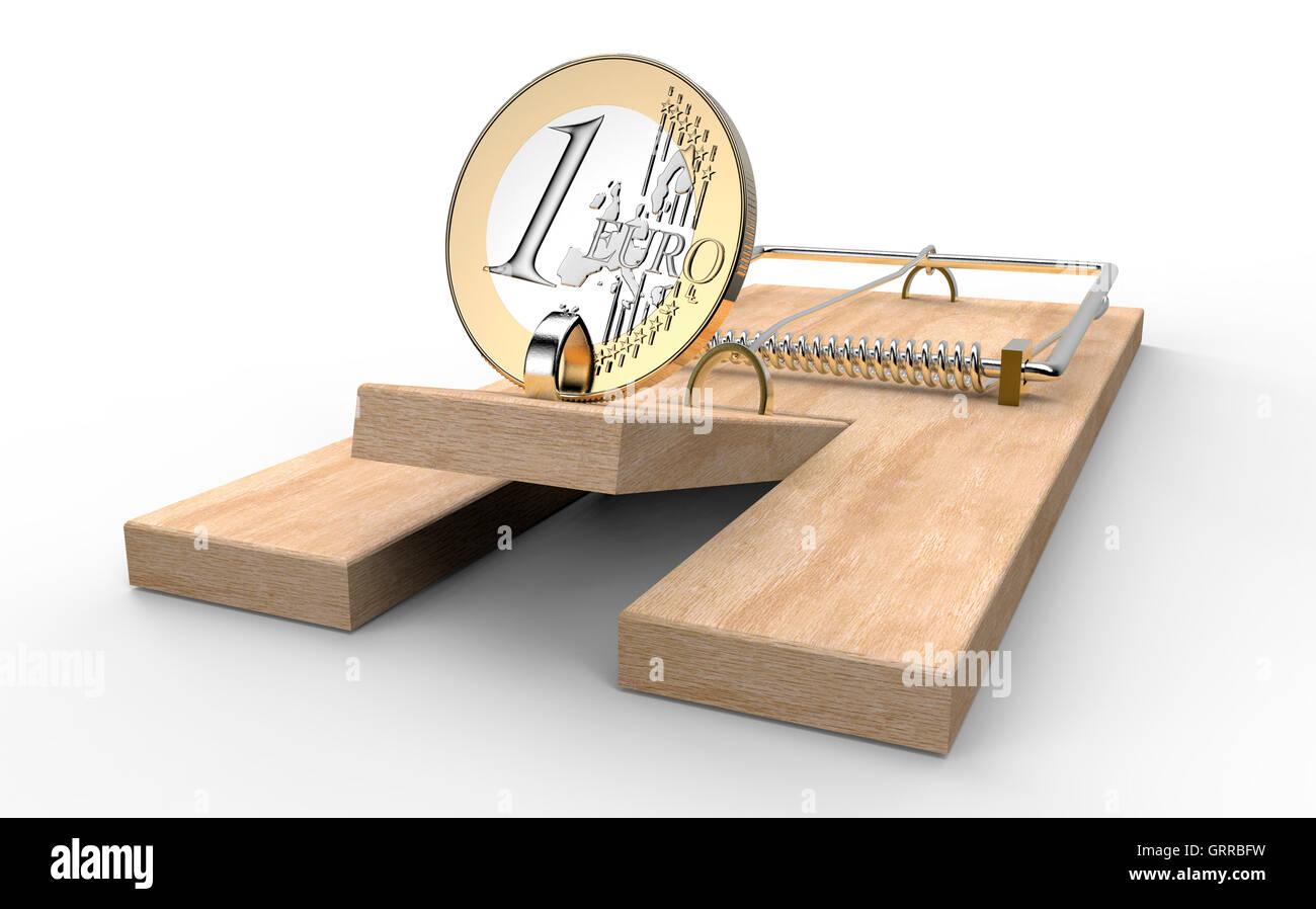 Trampa de ratón con monedas de euro como cebo aislados, ilustración 3d Imagen De Stock