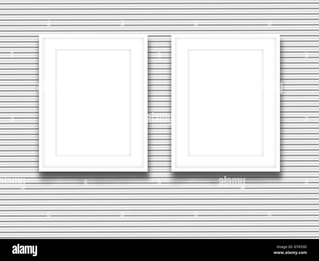 Close-up de dos marcos de imagen en blanco sobre negro, papel tapiz ...