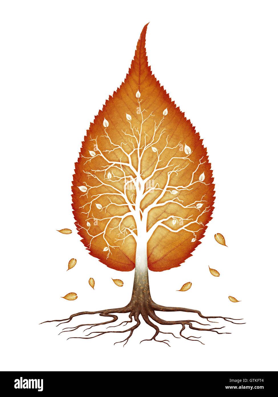 Hoja de otoño de color rojo en forma de árbol con ramas y raíces naturaleza infinita fractales, espiritual Imagen De Stock