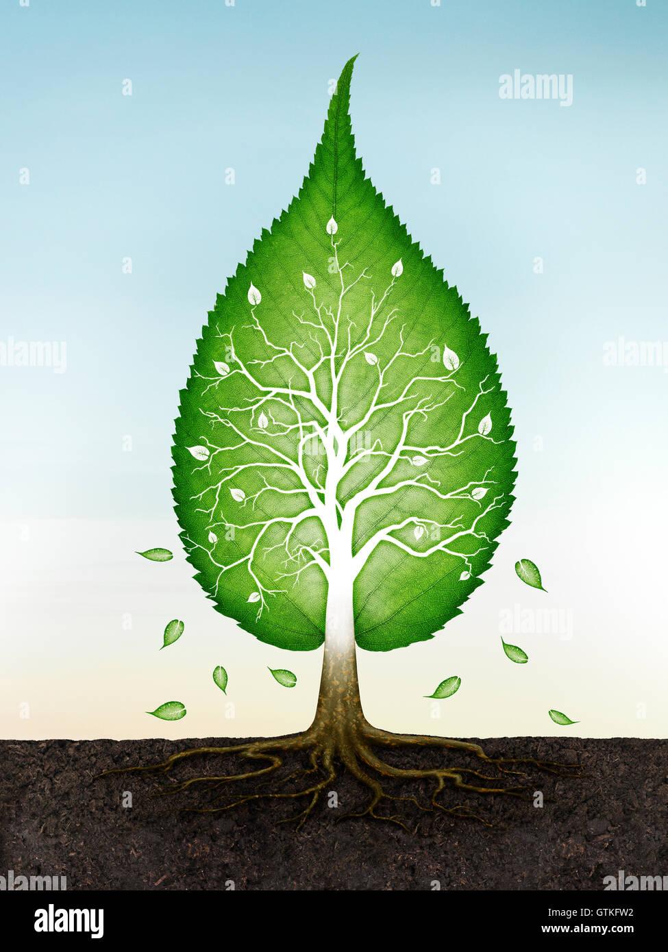 Árbol con forma de hoja verde con raíces en la tierra espiritual concepto zen sobre fondo de cielo azul. Ilustración Foto de stock