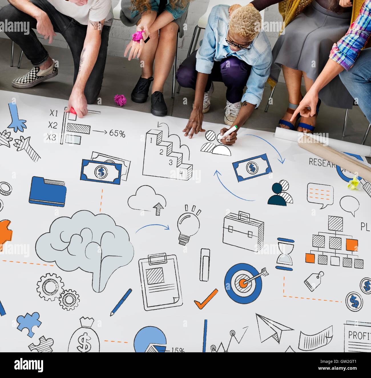 Concepto de administración de finanzas de crecimiento empresarial Imagen De Stock