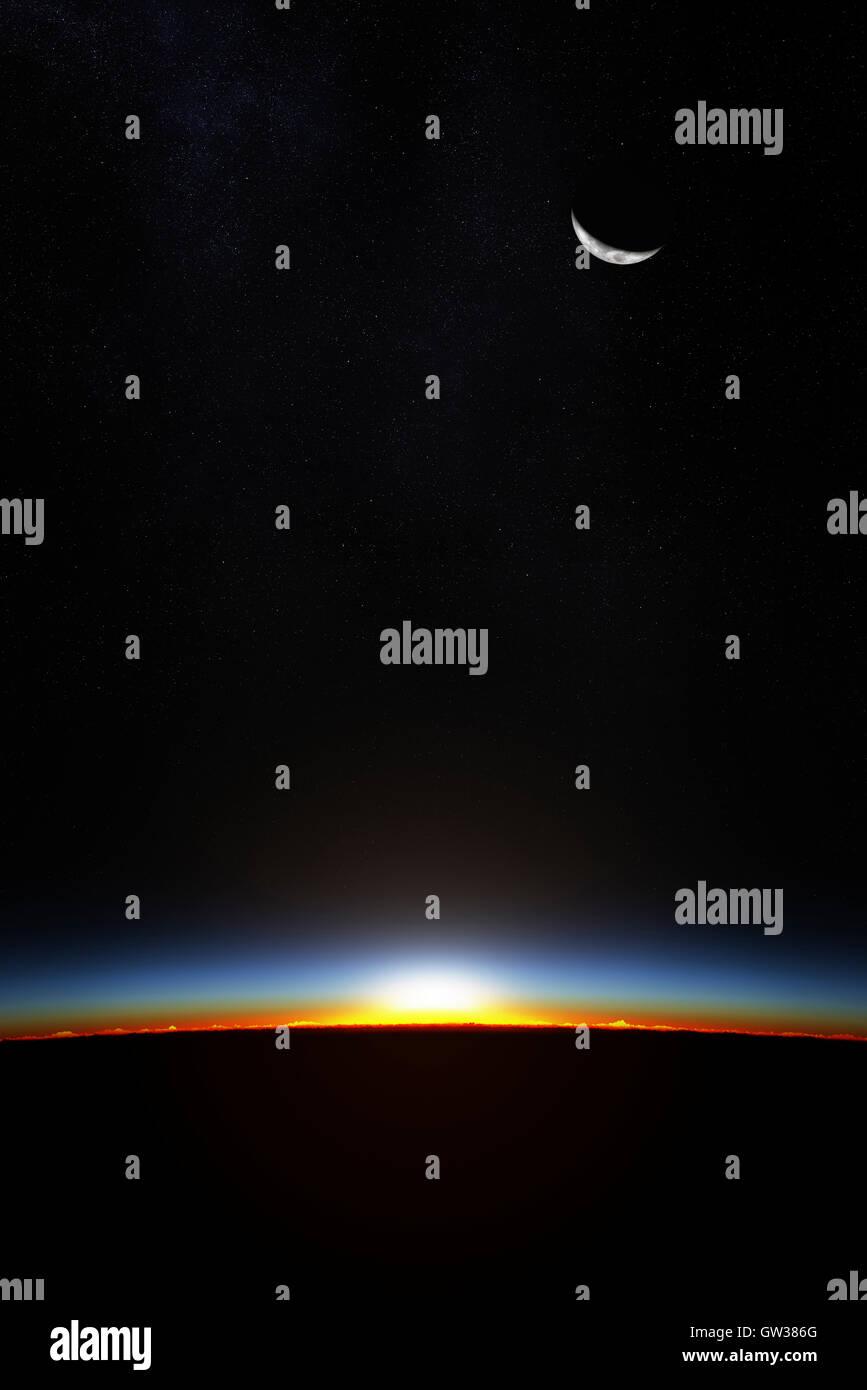 Planeta Tierra desde el espacio a medida que el sol comienza a romperse a través de la atmósfera (3D Render) Imagen De Stock