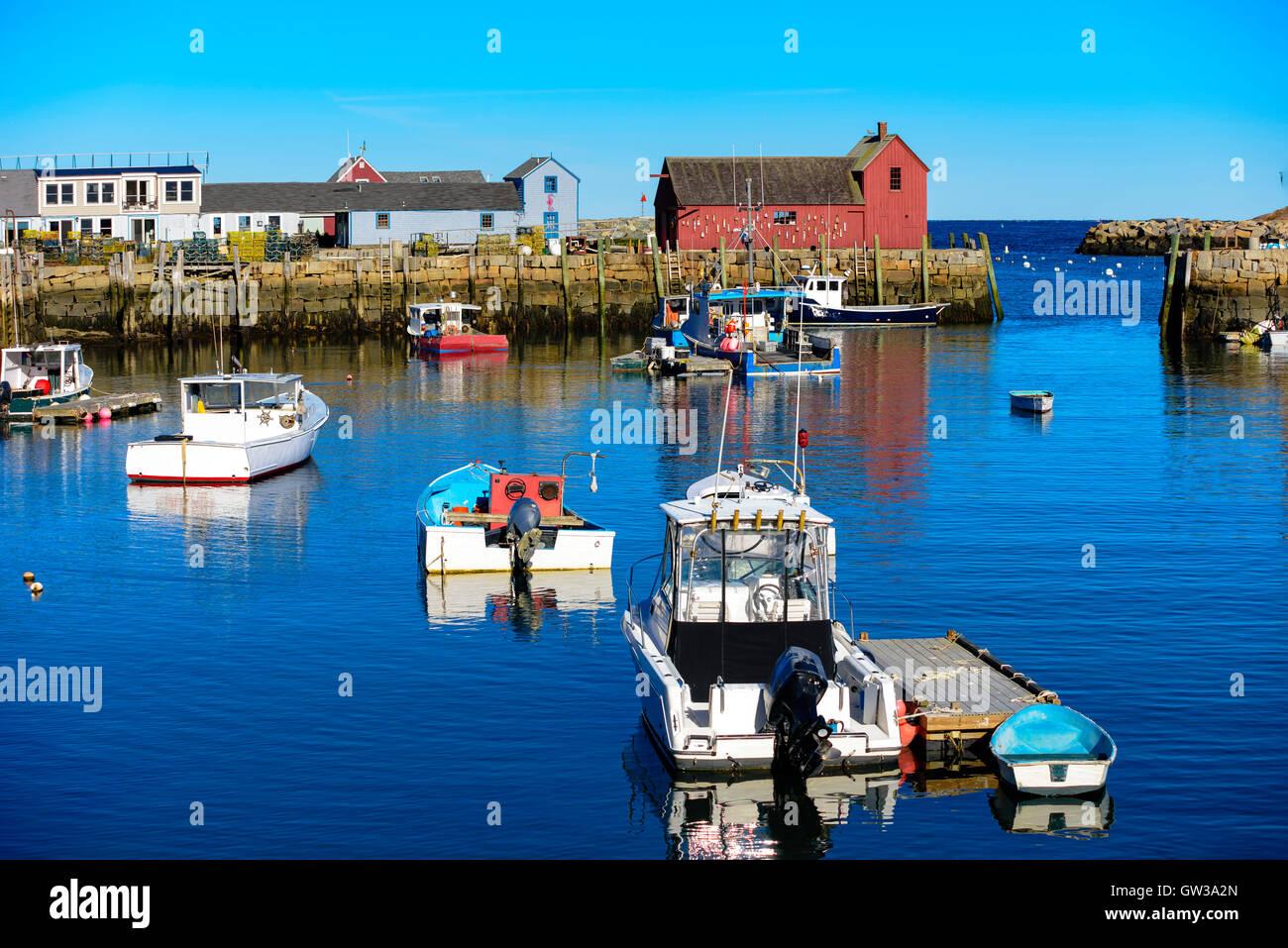 Rockport harbor con motivo número 1, pesca choza en el fondo, ubicado en Rockport Massachusetts Imagen De Stock