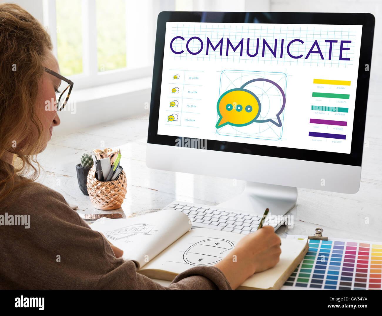 Comunicar las tendencias interactúan Concepto de conexión Imagen De Stock