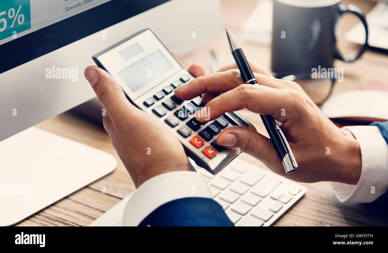 Calcular el saldo contable de la deuda financiera concepto Foto de stock