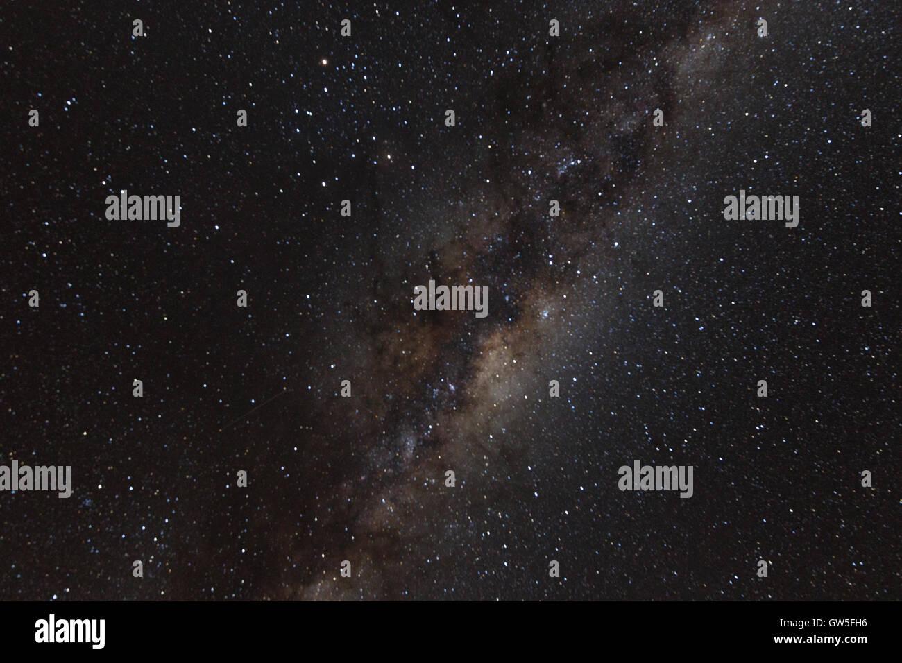 """Estrellas Las estrellas - Vía Láctea: La Vía Láctea es la galaxia que contiene nuestro Sistema Solar. Su nombre """"lechosa"""" se deriva de su appea Foto de stock"""