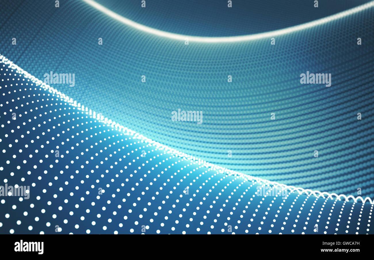 Ilustración 3D. Concepto de ondas puntos resumen antecedentes tecnológicos. Imagen De Stock
