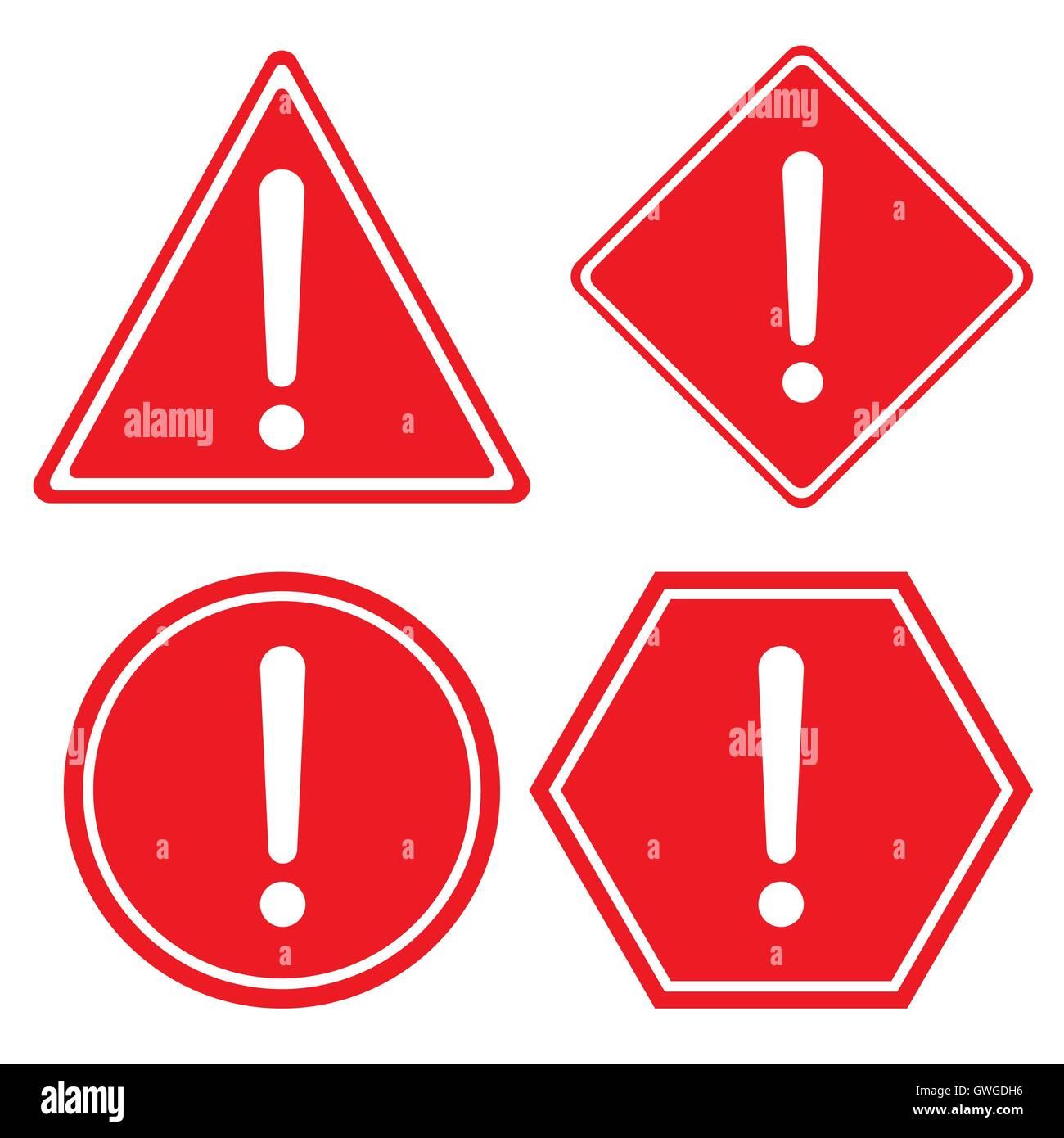 Advertencia, firmar, exclamación, presión, marca roja, icono, peligro, error, punto, atención, vector, Imagen De Stock
