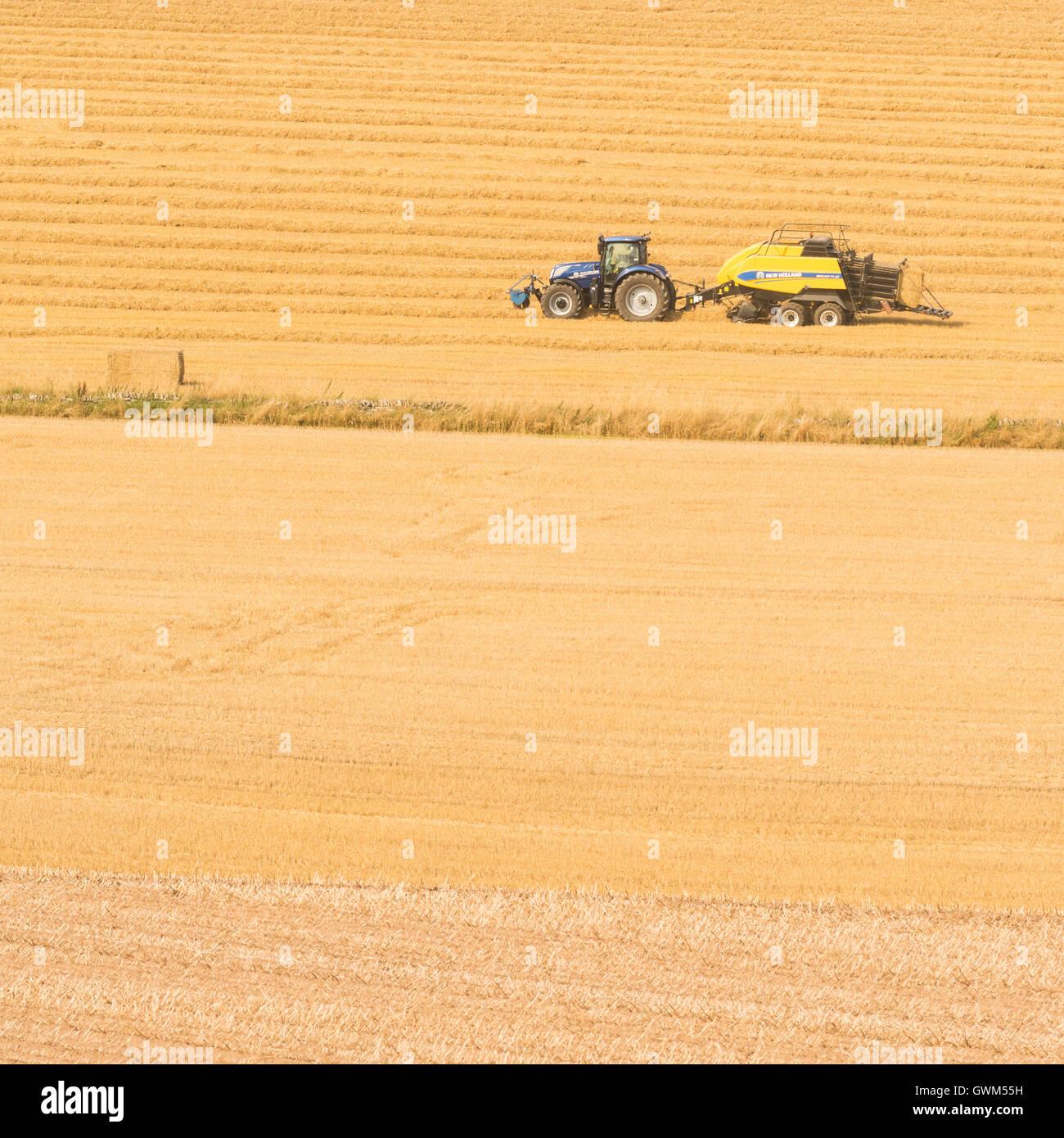 La agricultura moderna en Escocia - el tractor y la empacadora rectangular hacer fardos de paja Imagen De Stock