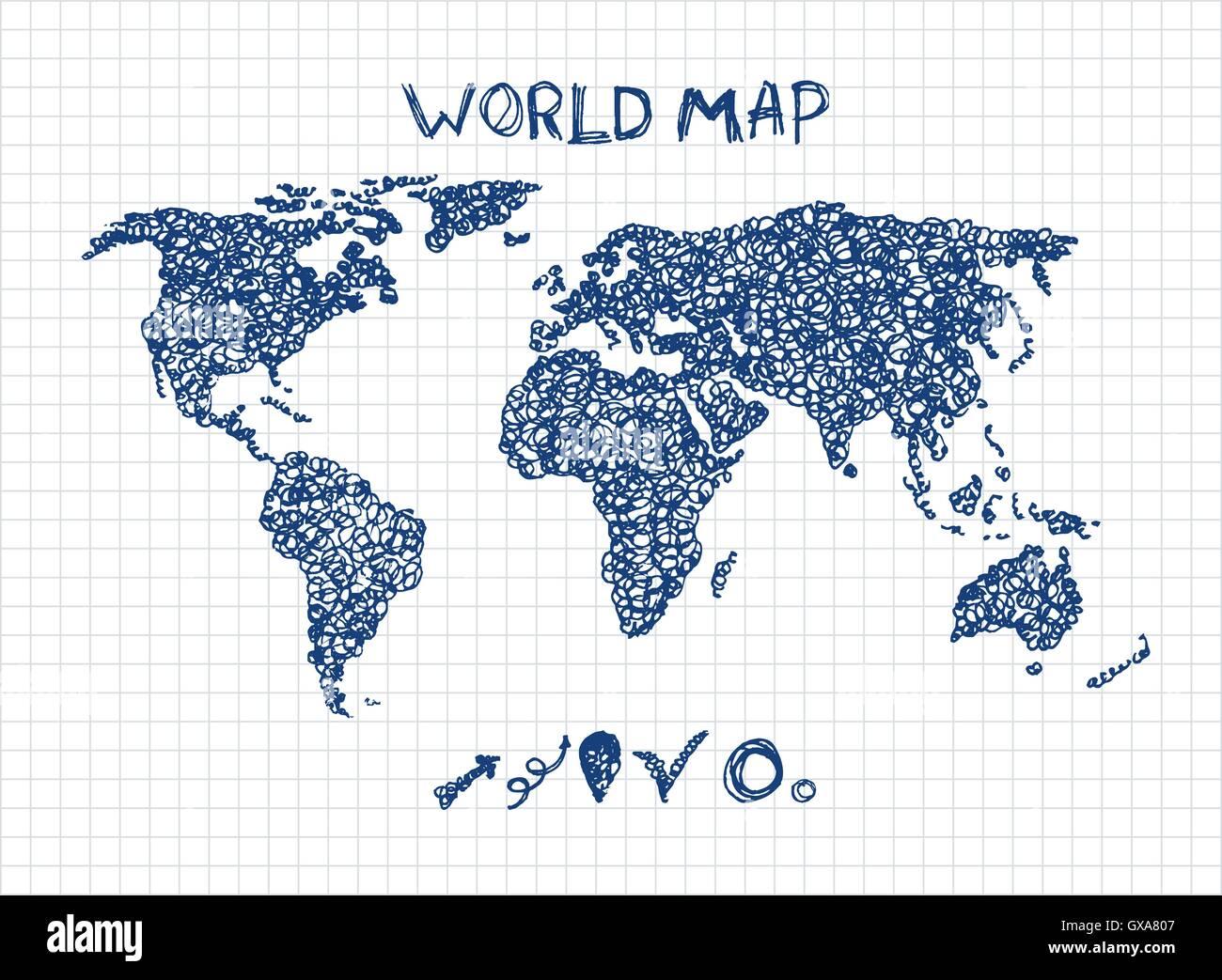 Croquis del mapa del mundo. Mapa de viaje elegante dibujados a mano ...
