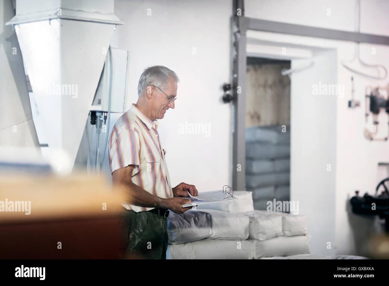 Miller macho stock teniendo en sacos de harina en el molino de trigo Imagen De Stock