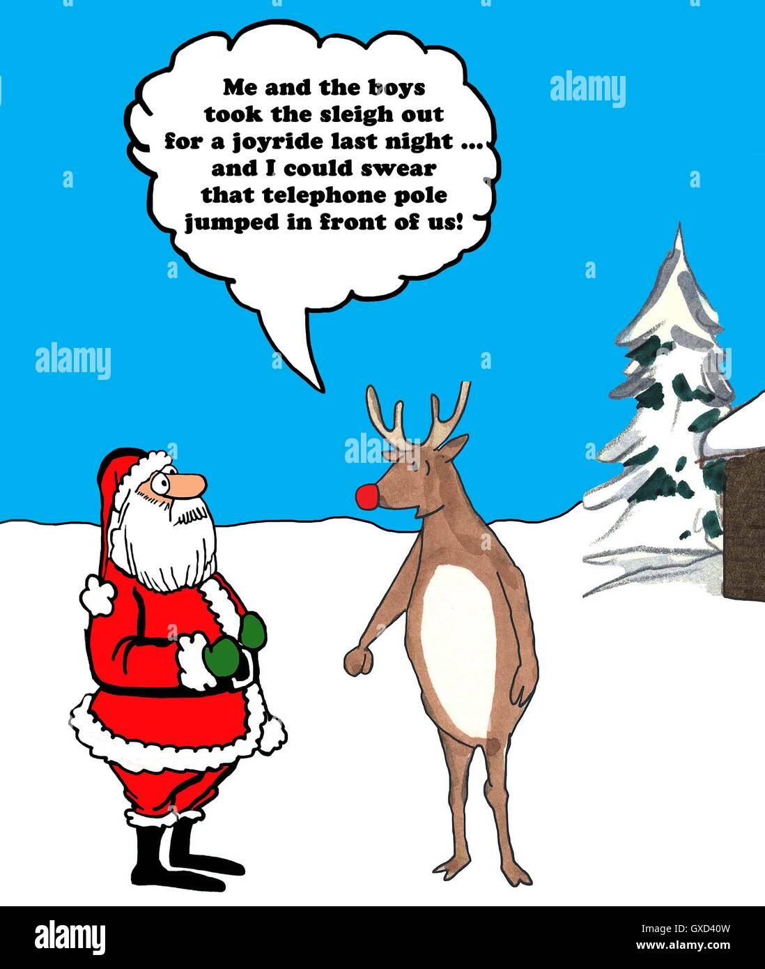 Color De Dibujos Animados De Navidad De Los Renos De Nariz Roja
