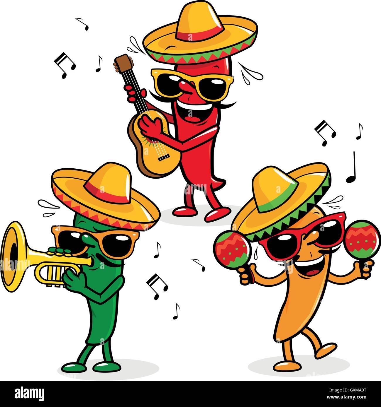 Cartoon caliente pimientos mariachi portando sombreros y reproducir música.  Imagen De Stock baccdd105ed