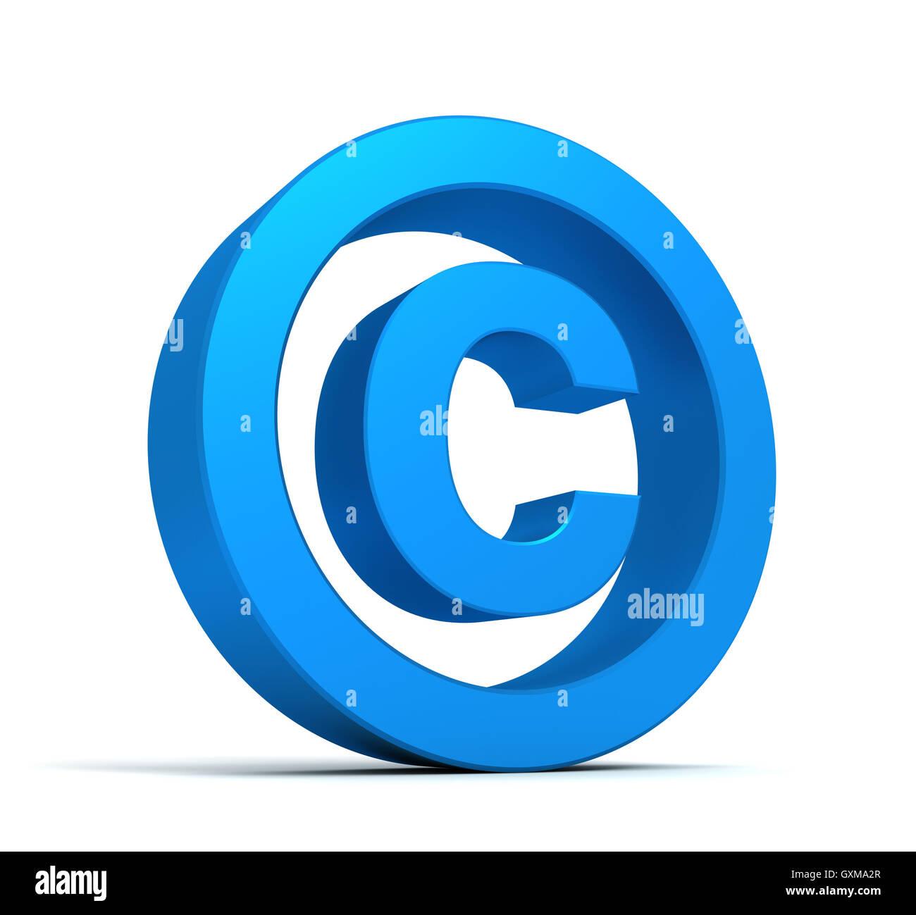 Símbolo de copyright concepto ilustración 3d Foto de stock