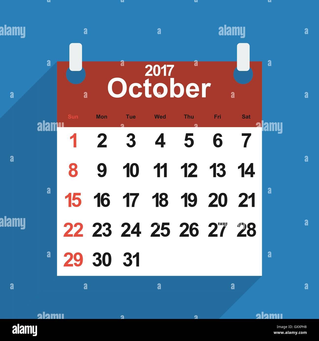 Hoja Calendario 2017 Con El Mes De Octubre Dias Ilustracion Del
