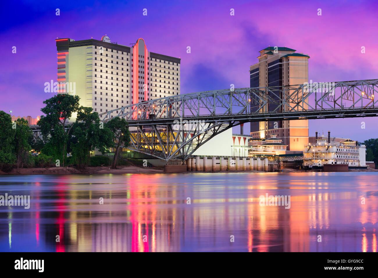 En Shreveport, Louisiana, EE.UU ciudad sobre el Río Rojo. Foto de stock