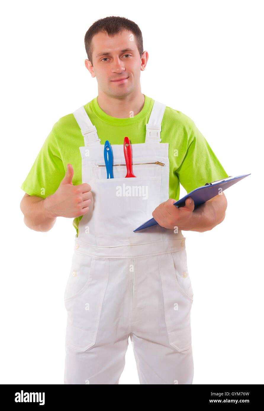 Pintor con un portapapeles y pulgar arriba Imagen De Stock