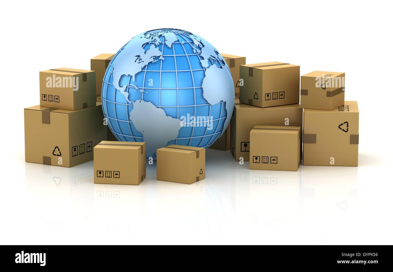 Concepto de paquetería internacional , esta es una imagen 3D generada por ordenador. Aislado en blanco. Imagen De Stock