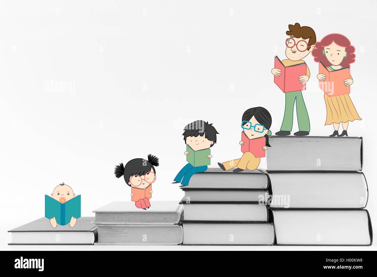 Illustration Children Reading Books Imágenes De Stock & Illustration ...