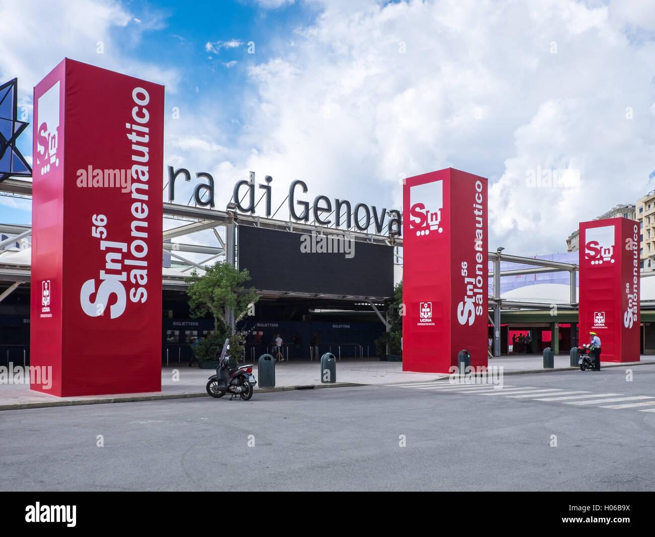 Génova, Italia. El 20 de septiembre, 2016.La entrada del Boat Show de Génova es visto durante el día Imagen De Stock