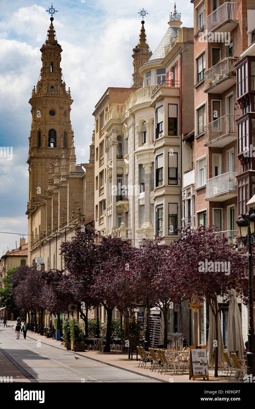 La calle portales con santa mar a de la redonda catedral en logro o la rioja espa a europa - Cristalerias en logrono ...