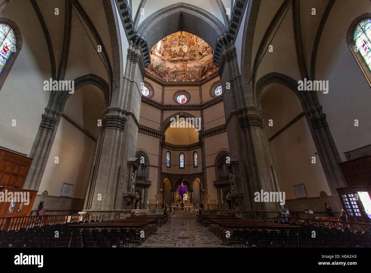 La Catedral de Santa Maria del Fiore, del Interior, de Florencia, Toscana, Italia Foto de stock