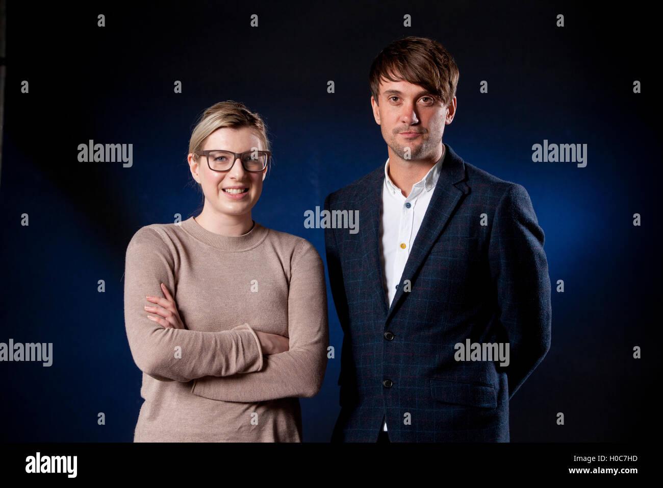 Cara Ellison, Scottish videojuegos escritor y crítico con Simon Parkin, el escritor y periodista británico, Imagen De Stock