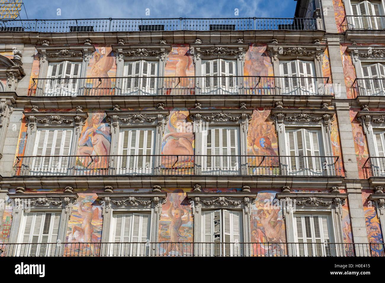 Casa de la Panadería, Plaza Mayor, Madrid, España Foto de stock