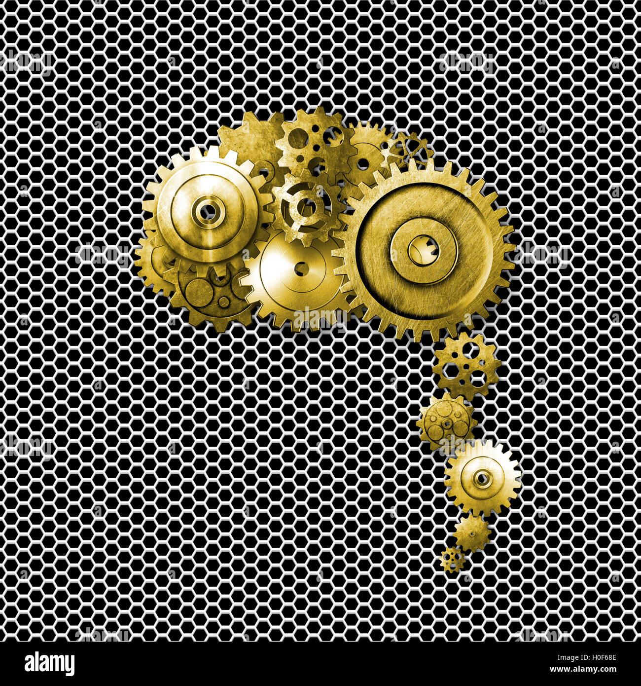 Oro Metal Gear en metal malla blanca parezca un cerebro humano. diseño material. Ilustración 3d. Imagen De Stock
