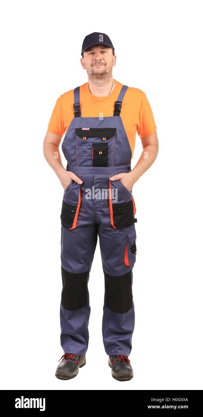 Trabajador llevar el mono. Imagen De Stock