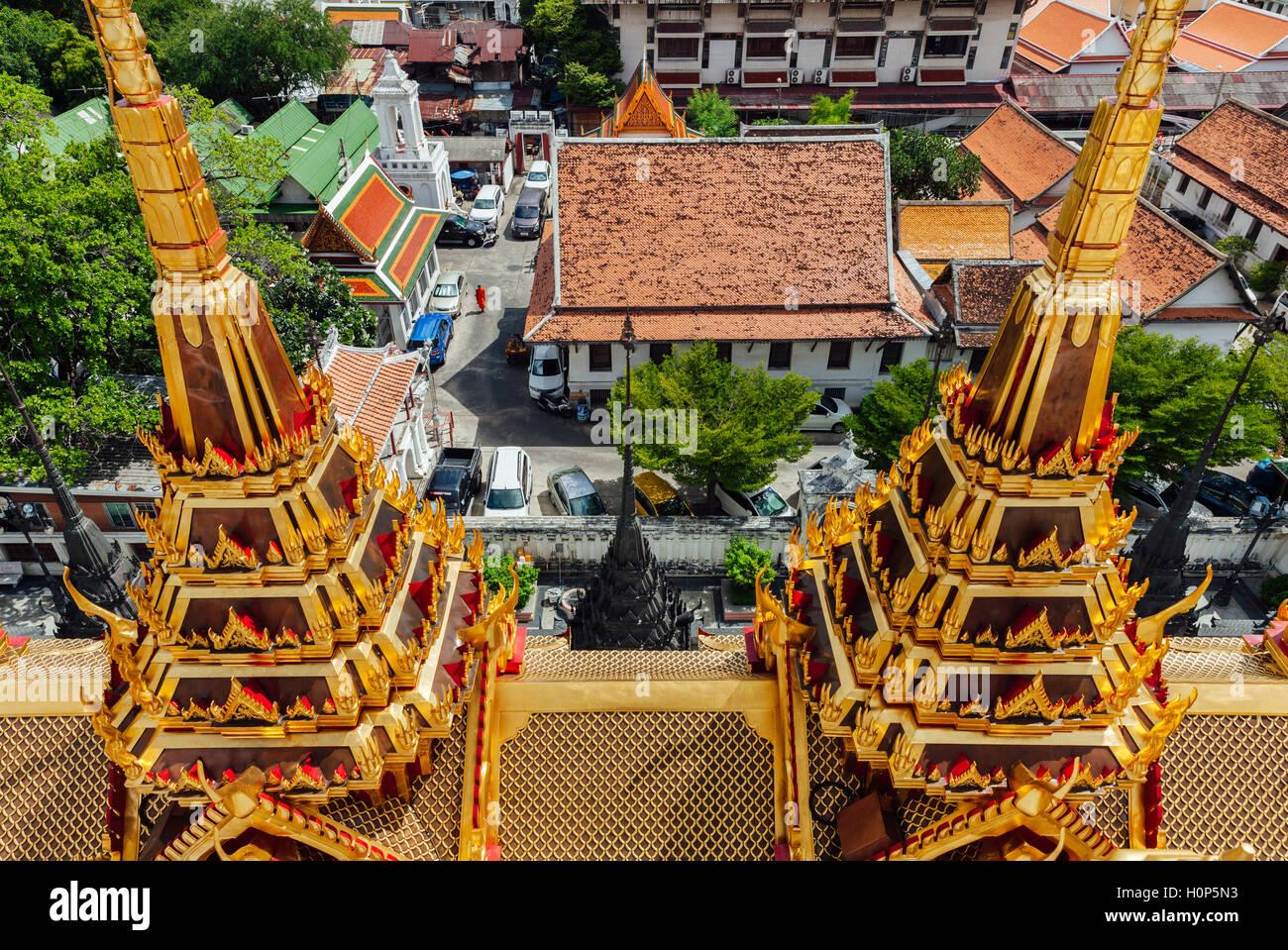 Un alto ángulo de visualización de la WAT Ratchanatdaram, Bangkok, Tailandia Foto de stock