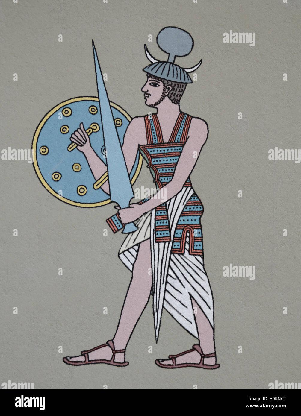 El antiguo Egipto. Militares. Soldado mercenario que eran empleadas por los egipcios. Llama Shairetana. Grabado. Imagen De Stock