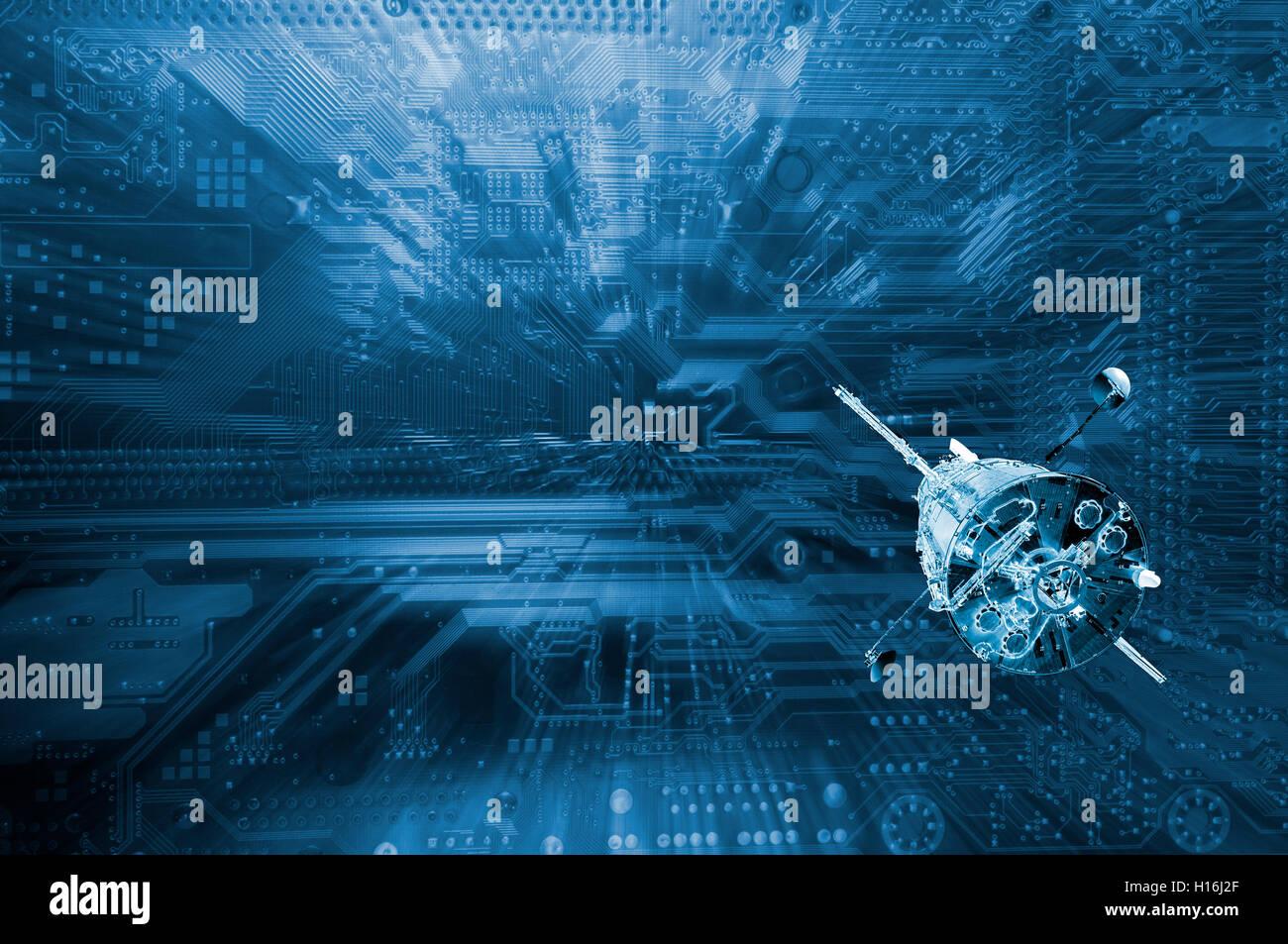 Explorar computarizado satélite en el espacio ultraterrestre Imagen De Stock
