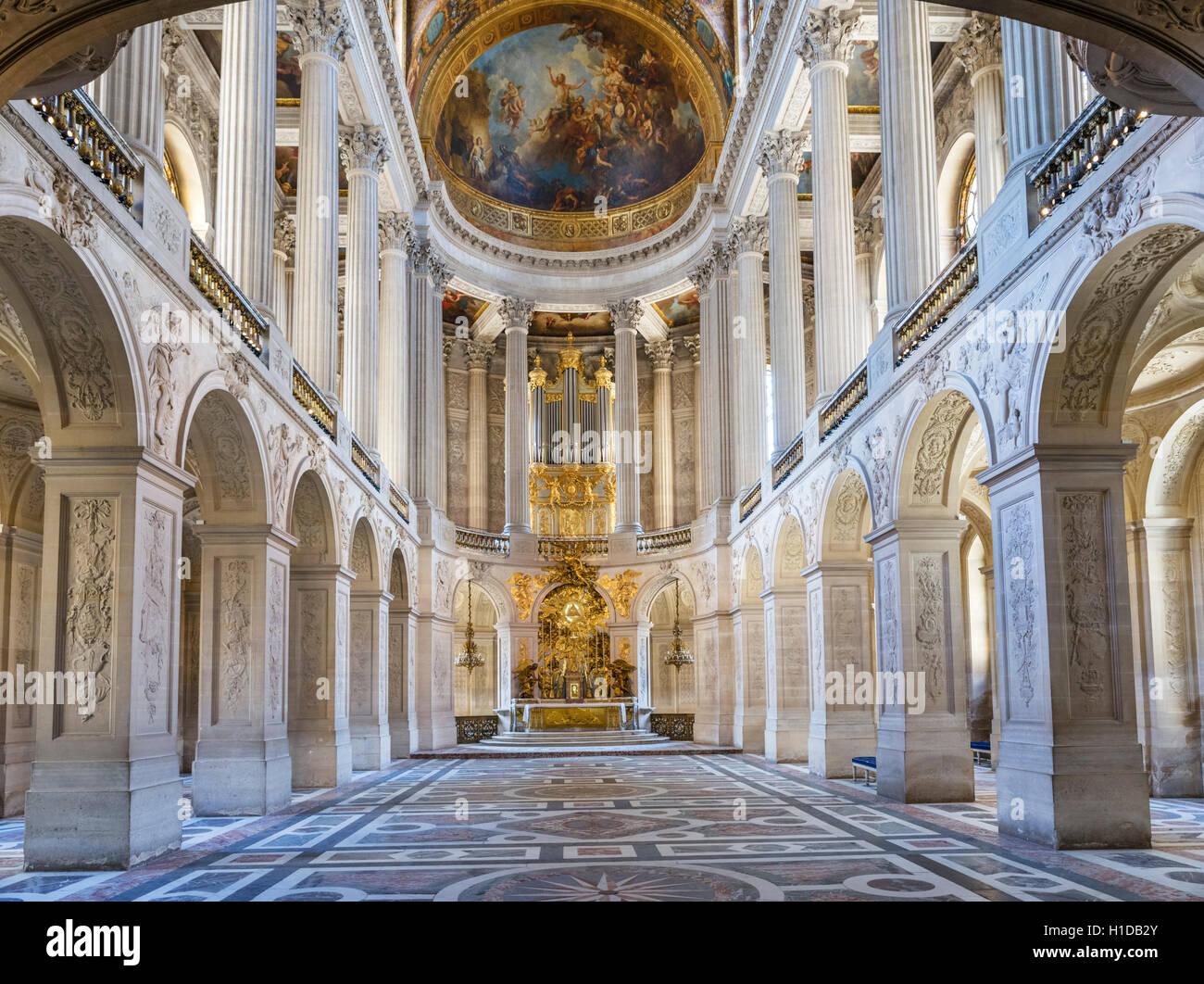 La Capilla Real (Chapelle Royale), el Chateau de Versailles (Palacio de Versalles), cerca de París, Francia Imagen De Stock