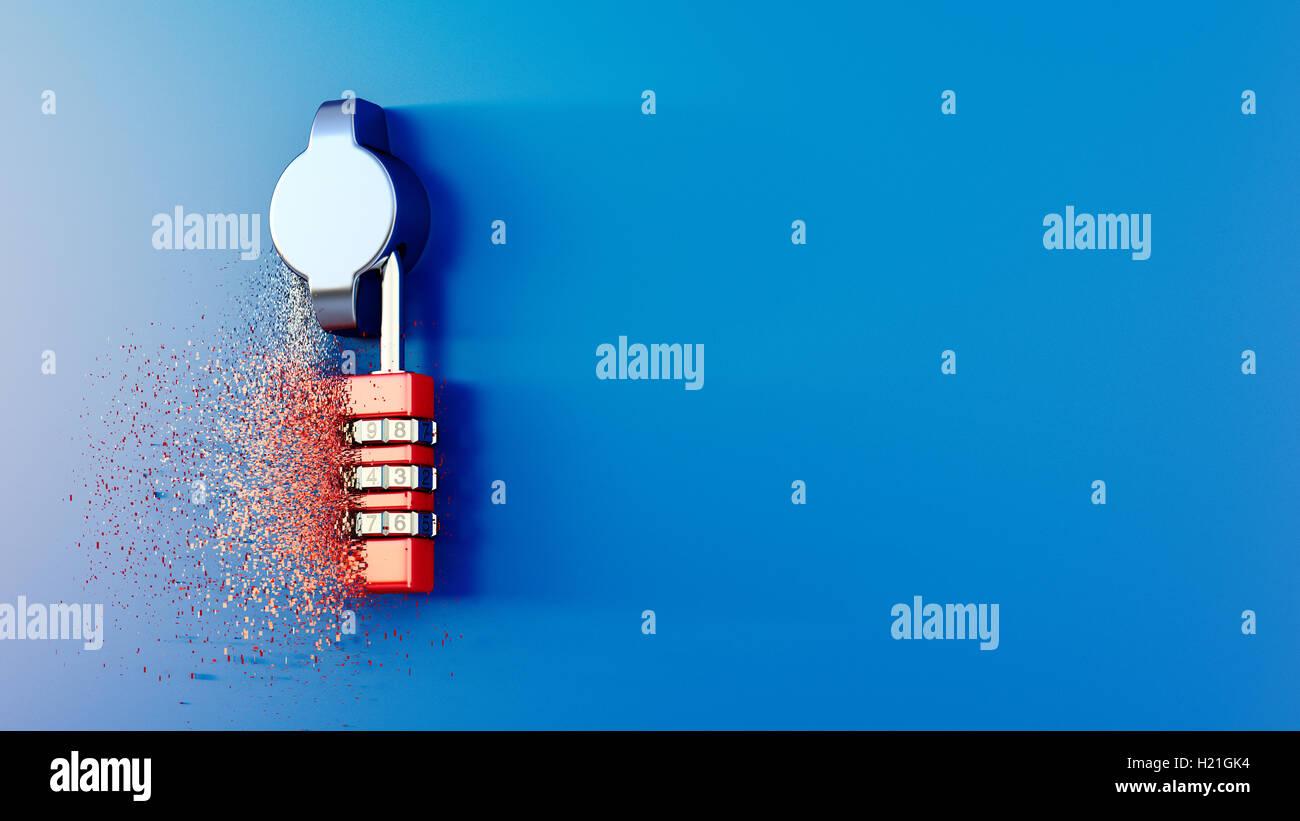 Disolución de cerradura de combinación, 3D Rendering Imagen De Stock
