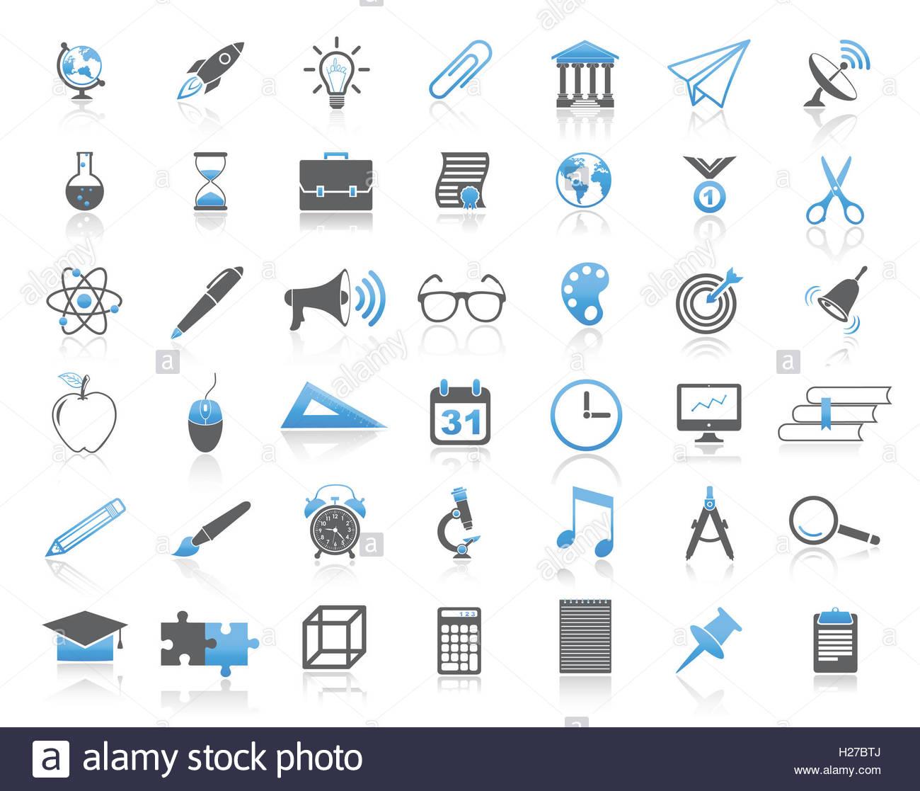 La educación universal moderno conjunto de iconos Imagen De Stock