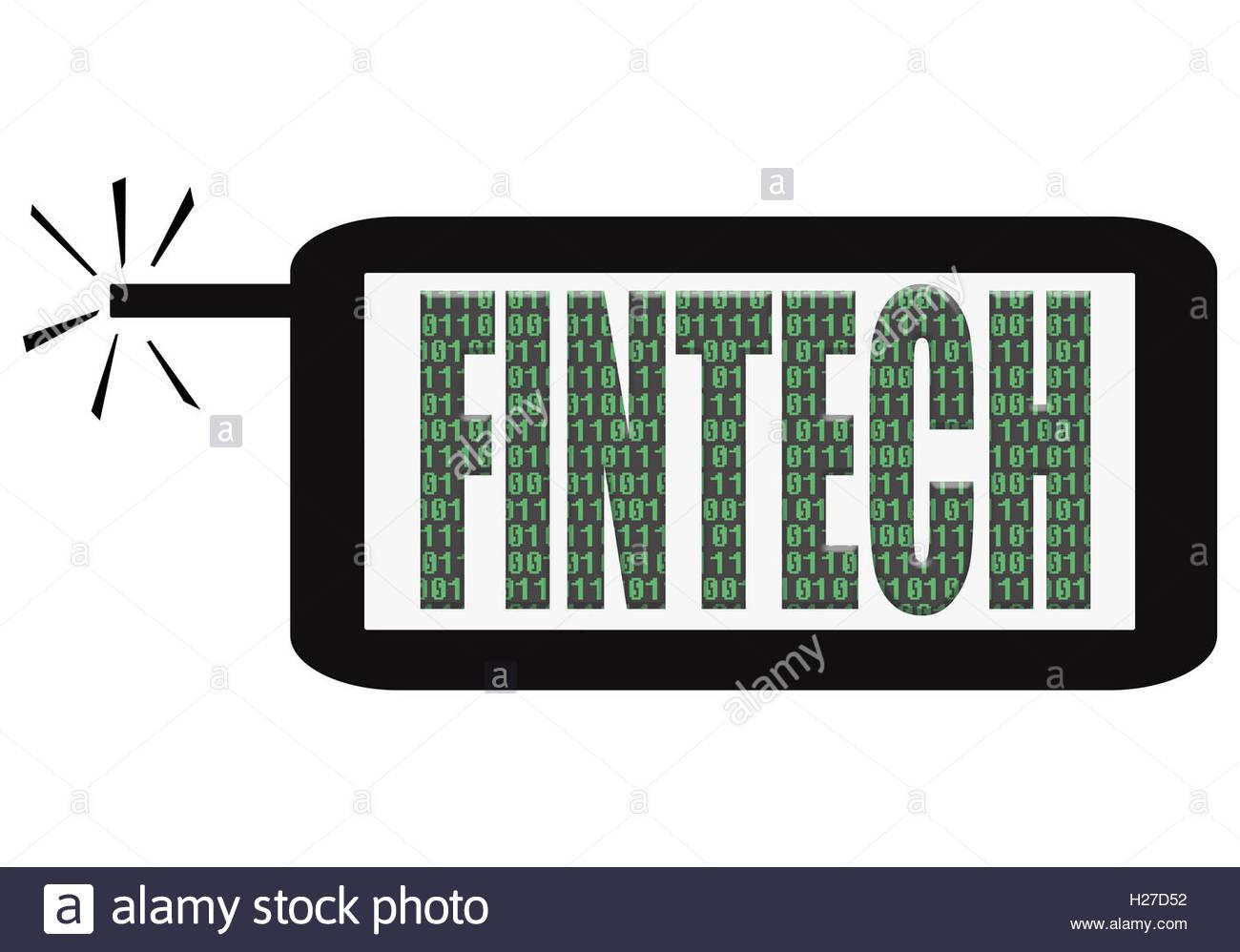Ilustración Digital - App del teléfono inteligente con la palabra fintech. Fintech es financiero tecnologías Imagen De Stock