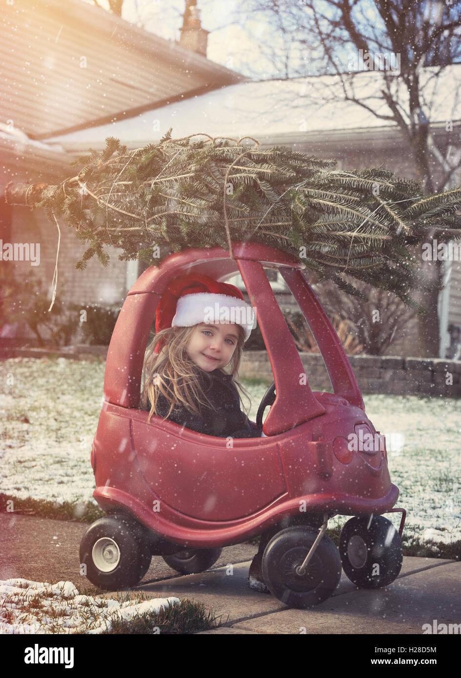 Una chica está llevando a casa un árbol de Navidad en la parte superior de un tejado fuera en la nieve Imagen De Stock